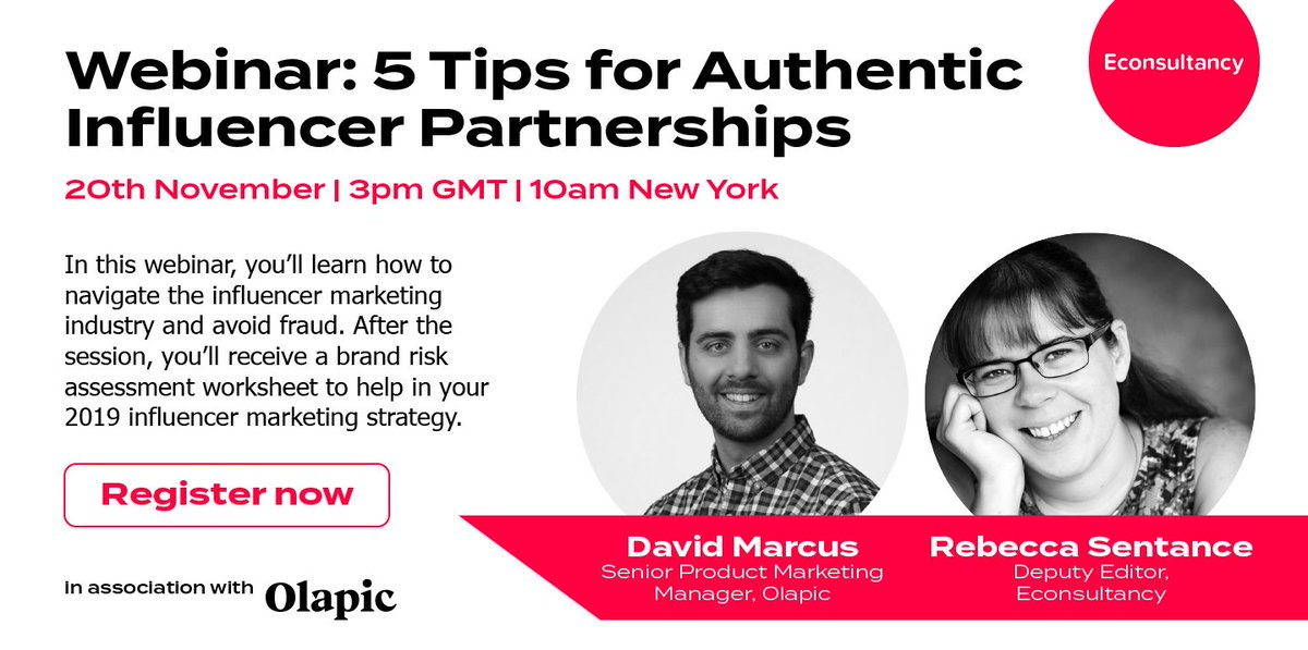 Registration is open for our next webinar (Tues 20 Nov). We'll be covering influencer marketing - from the current state of play to avoiding influencer fraud. Hosted by Econsultancy's @rainbowbex and David Marcus (@Olapic).  3pm GMT   10am EST. https://t.co/svHzVvrz1v https://t.co/MNbqey96xd