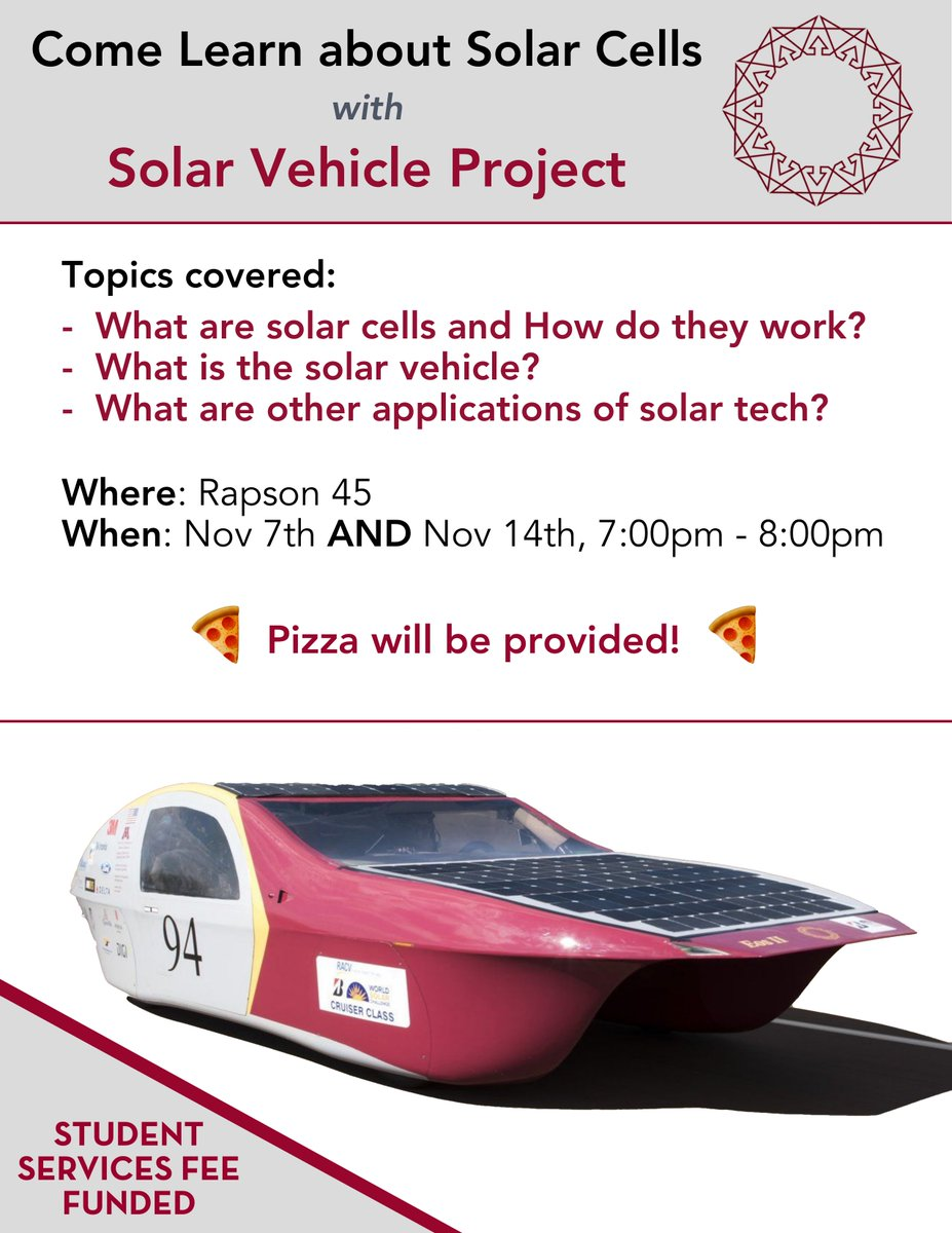 Umnsvp Twitter Solar Power Car Project The Umn Vehicle Will Be Making A Presentation About Technology Tomorrow And Next Week We Hope To See You All There