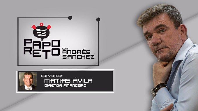 O convidado do próximo episódio do Papo Reto com Andrés Sanchez é o diretor financeiro do Timão, Matias Ávila. Mande suas perguntas para o entrevistado através da #PapoReto #VaiCorinthians Photo