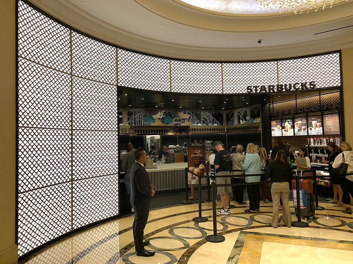 Eos Light On Twitter Starbucks Storefront At The Palazzo Hotel And Casino In Las Vegas The Interior Facade Lighting Was Designed By Light Theory Studios Using The Eos Basic Lightpanel In 2700k