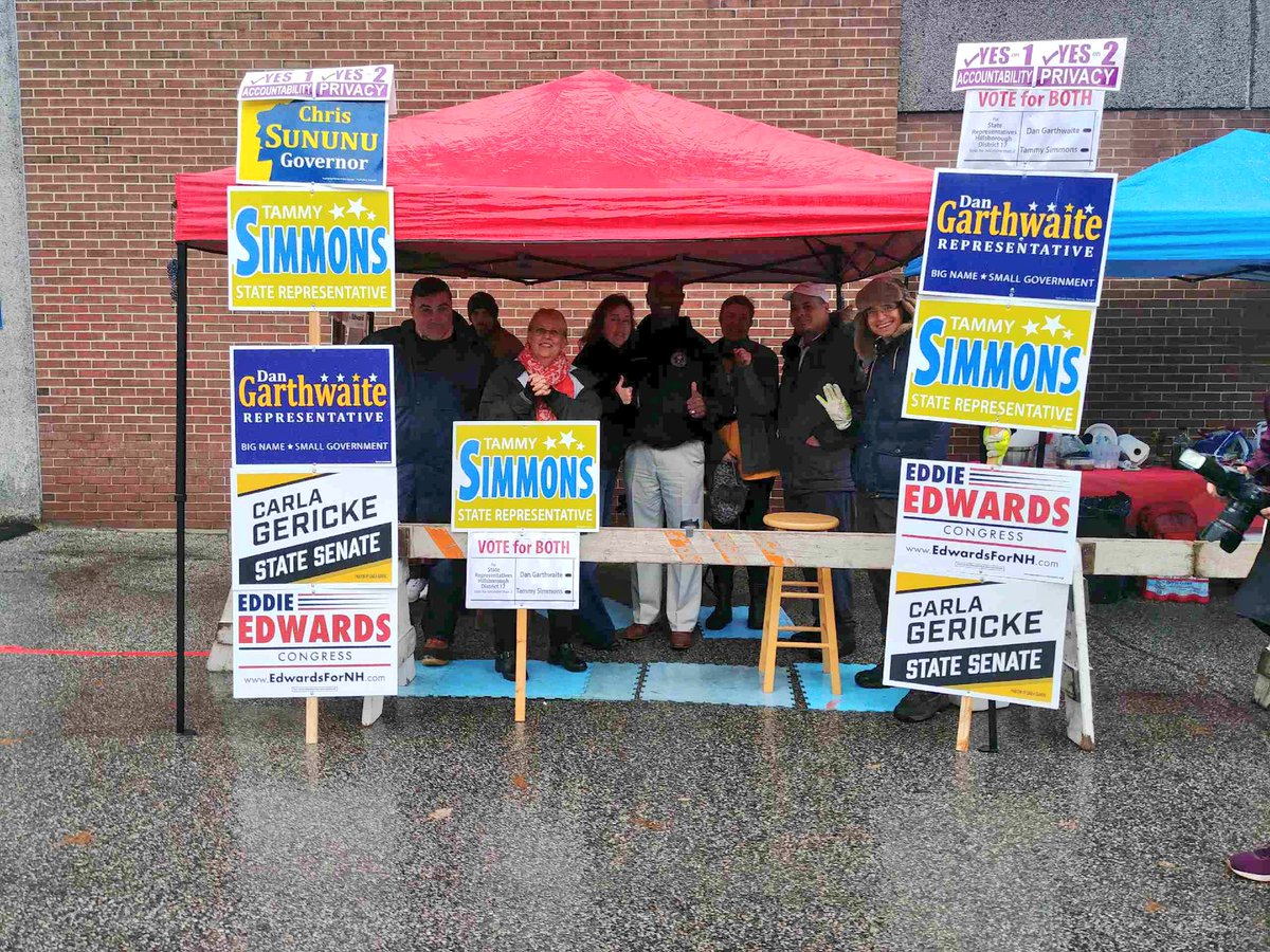 .@TheTammySimmons and the #MHT Ward 10 crew always have one of the best poll standing set ups in #NH01. Have you voted yet? #nhpolitics