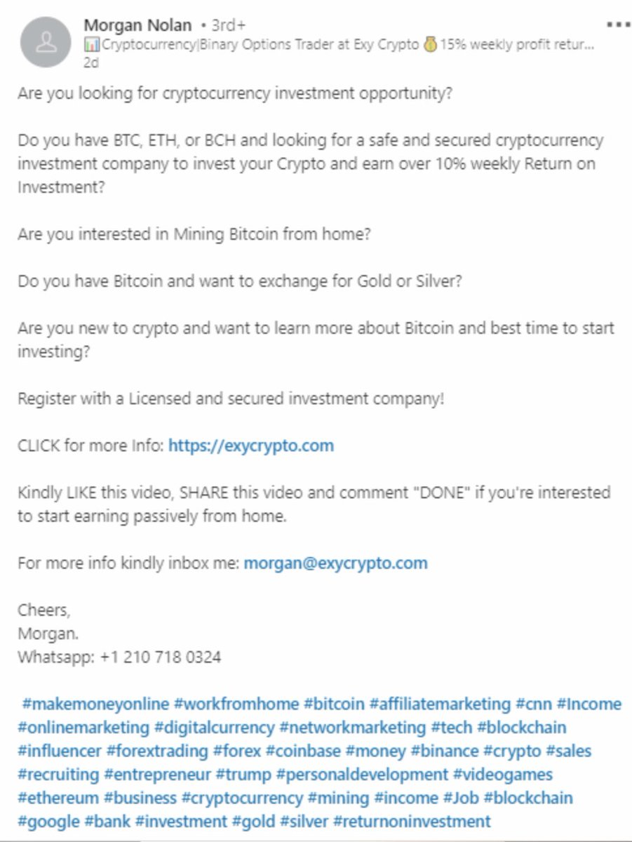linkedin cryptocurrency ads