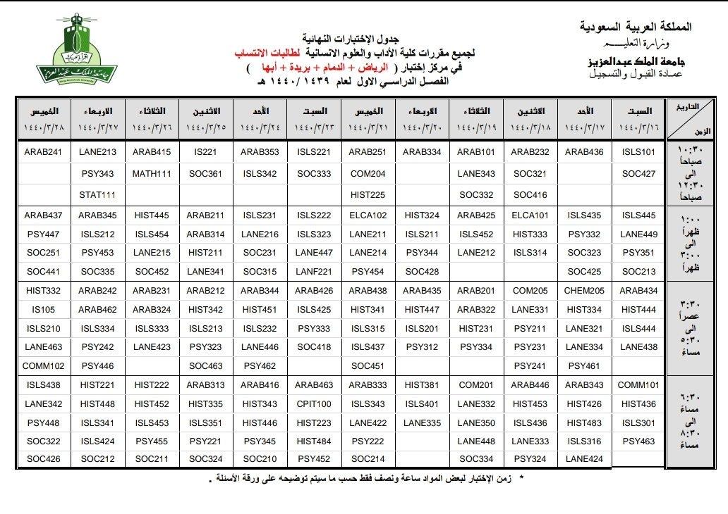 جدول اختبارات جامعة الملك عبدالعزيز انتساب 1441