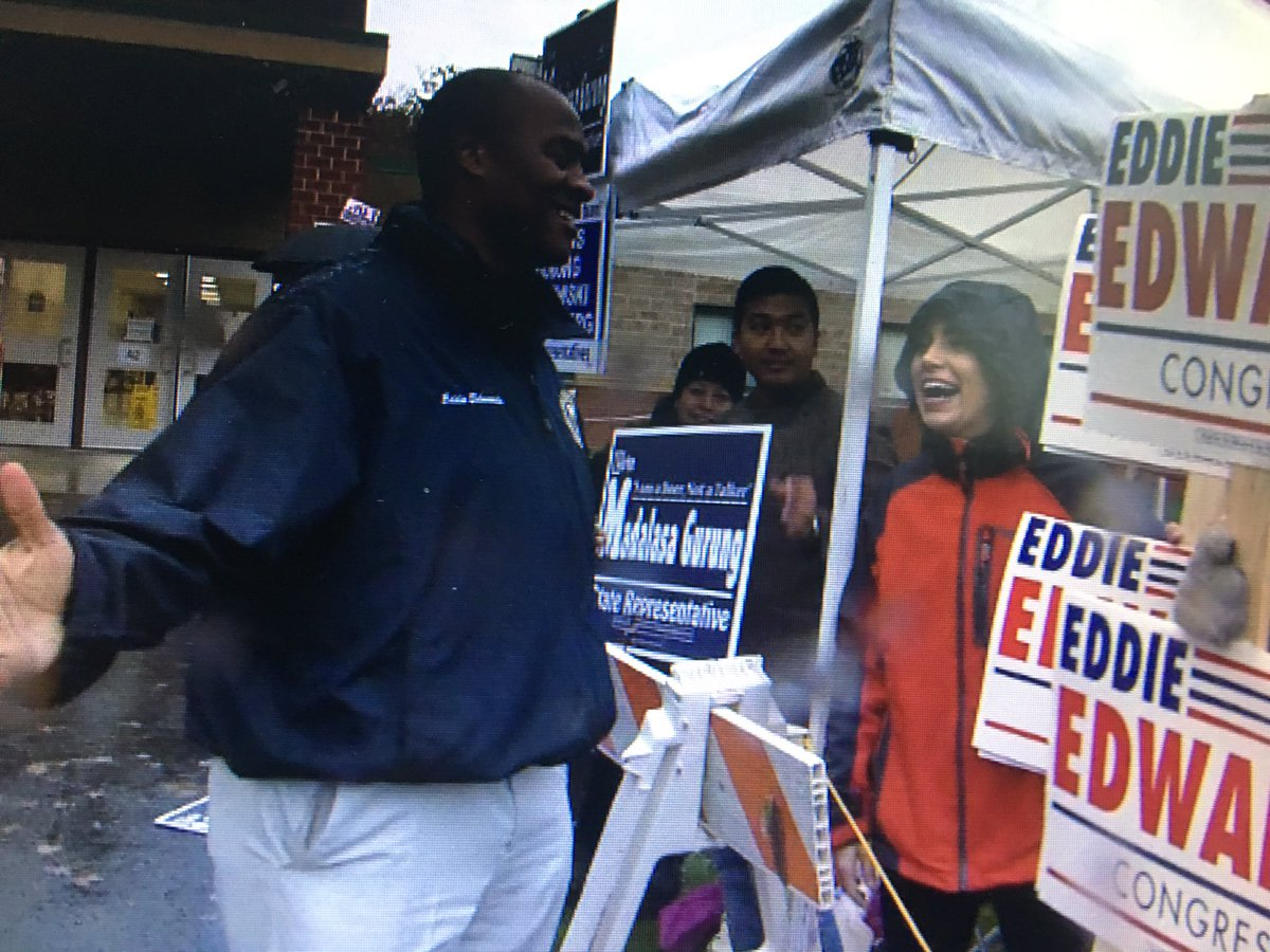 Visiting supporters outside the Hooksett NH polls, @EddieEdwardsNH is hoping for a historic win tonight in the state's 1st Congressional District. He'd be the first African-American to represent the Granite State in Congress. @NBC10Boston @NECN