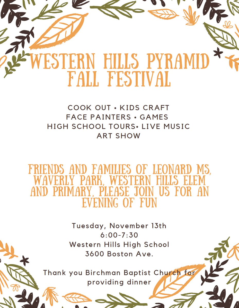 Come out and be a part of the Western Hills Pyramid Fall Festival! Live music, cookout, crafts, and more! All Free!
