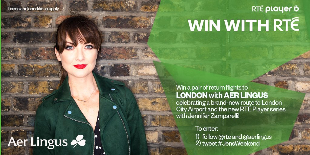 LAST CHANCE Win a pair of return flights to LONDON as @AerLingus celebrate their new route to City Airport AND the brand-new @RTEplayer series Jen's Weekend w/ @JenniferMaguire. Just follow @rte &  & t@AerLingusweet  ...oh a#JensWeekendnd watch the show: https://t.co/PvSRIQYJGO