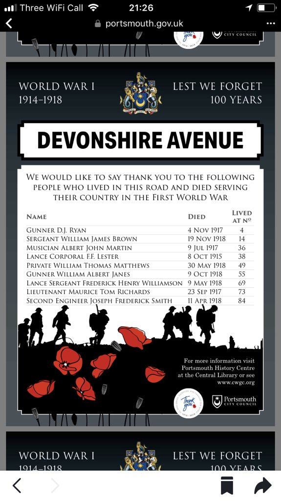My home city of Portsmouth has always been proud of its service history. To remember 100 years since end of WWI they've produced signs with every resident killed in the Great War for every road and street. 👏👏 portsmouth.gov.uk/ext/documents-…