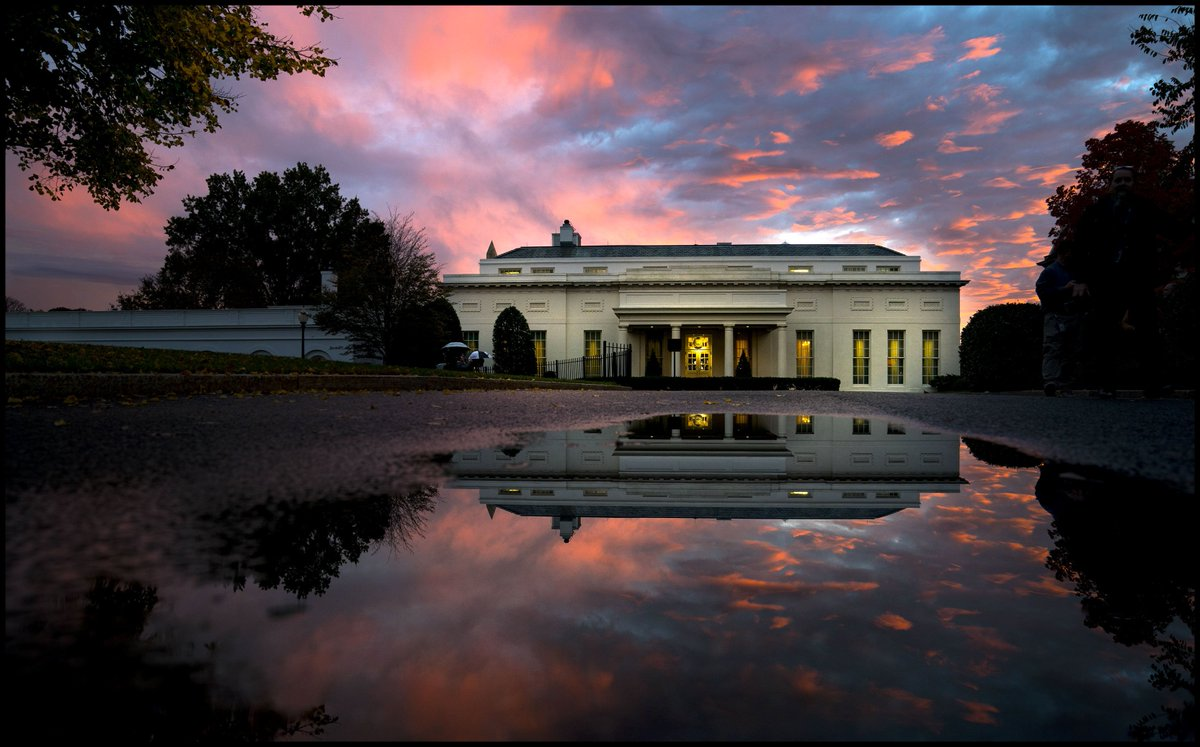 The sun sets over the West Wing of the White House on election day. @WhiteHouse