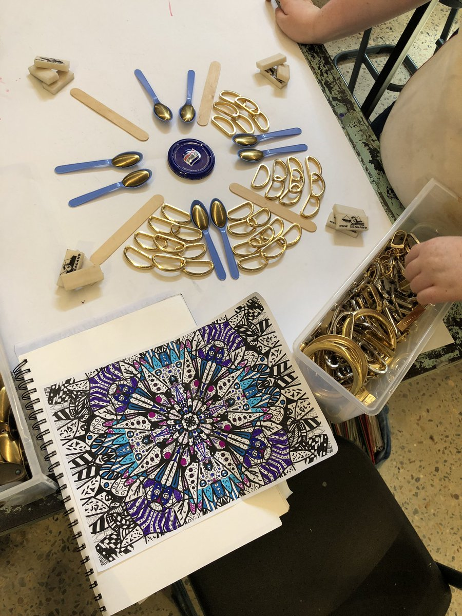 Mandalas made with ✍️ then 📱kaleidoscope, now we build out! #artsed #edtech #tradigital #makered