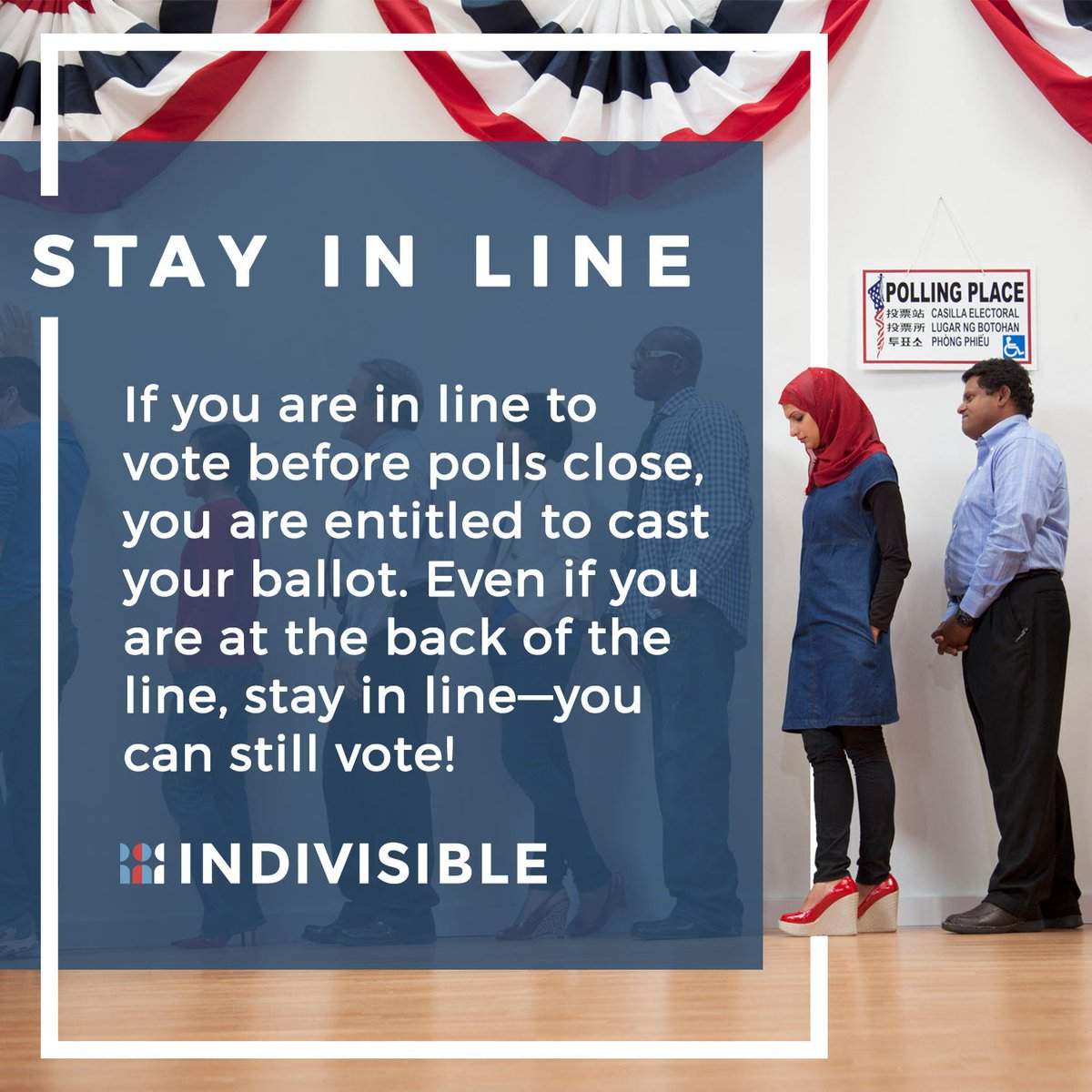 If you're in line when polls close in your state, you can still vote! STAY IN LINE!