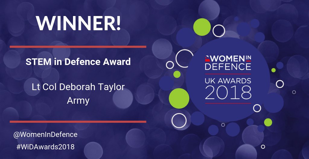 #STEM is of huge importance to the success of our sector. It's our great pleasure to award Lt Col Deborah Taylor the trophy for STEM in Defence Award. @debstaylor19 Well done to you! 💯👏🏻🏆👏🏻 #WiDAwards2018 @BritishArmy @northropgrumman