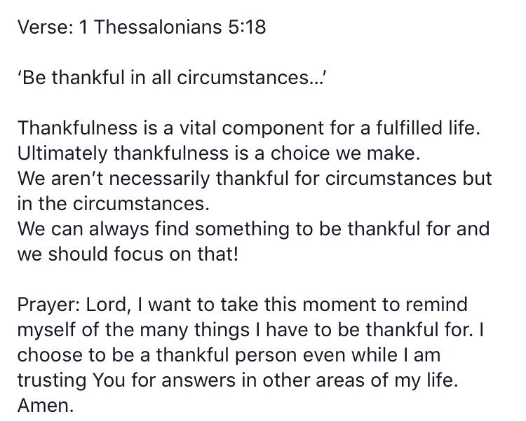 #WordForTheDay 1 Thessalonians 5 vs 18 https://t.co/41cSllWh3Q