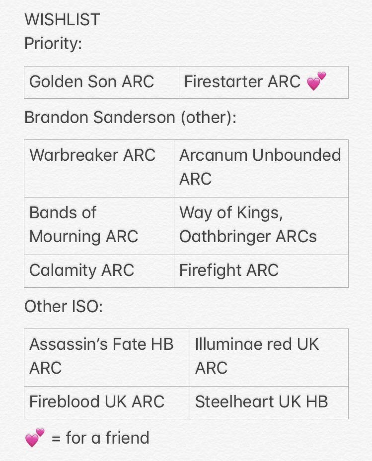 Searching for WL items, DMs open. Aussie/UK ARCs included below + special editions. GOLDEN SON US ARC is a huge priority! Would consider multiples for it. #arcsfortrade #booksfortrade