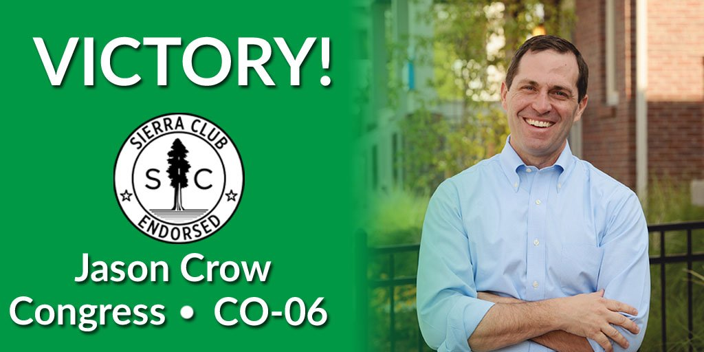 Congratulations to @JasonCrowCO6 - a @sierraclub #VictoryCorps candidate - for his victory in #CO06!