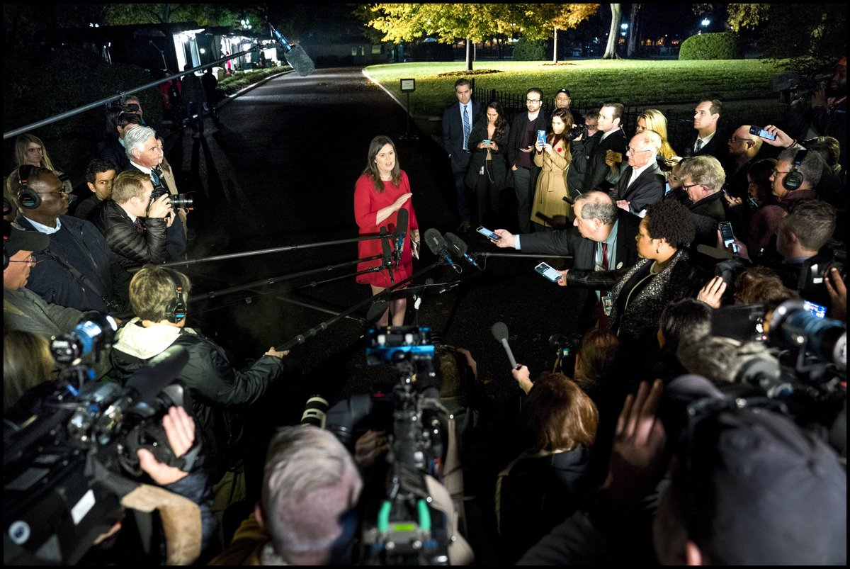 White House Press Secretary Sarah Huckabee Sanders speaks to reporters outside West Wing. @PressSec #ElectionNight
