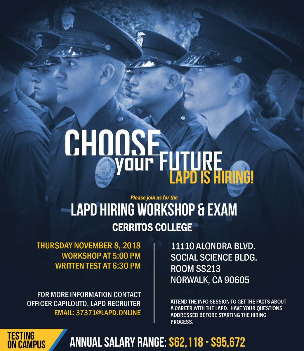Workshop 95 Addressing Students >> Cerritoscollege On Twitter Lapd Hiring Workshop And Exam On Campus