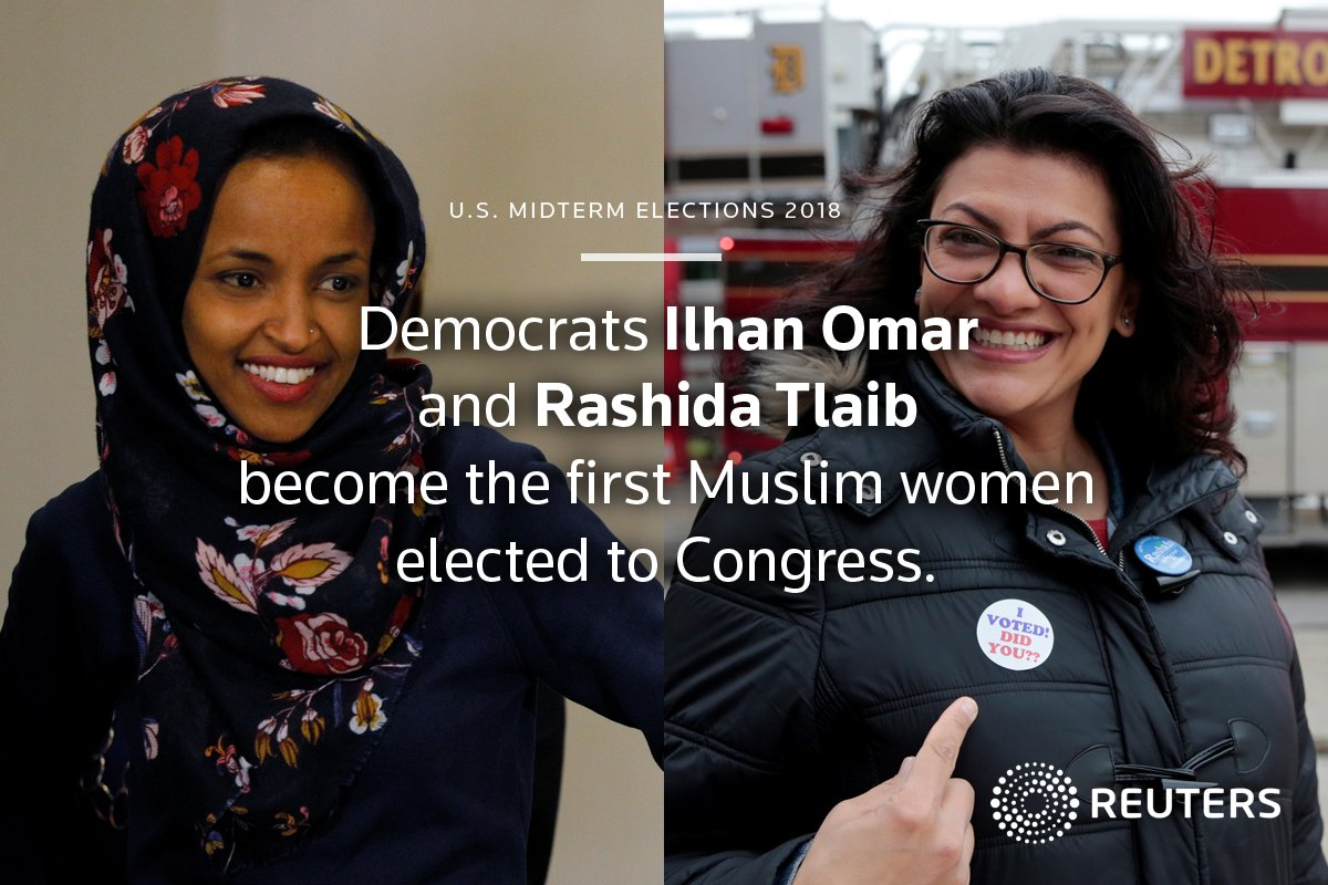 First two Muslim women are elected to U.S. Congress: https://t.co/nuXAkLKYRT #Midterms2018
