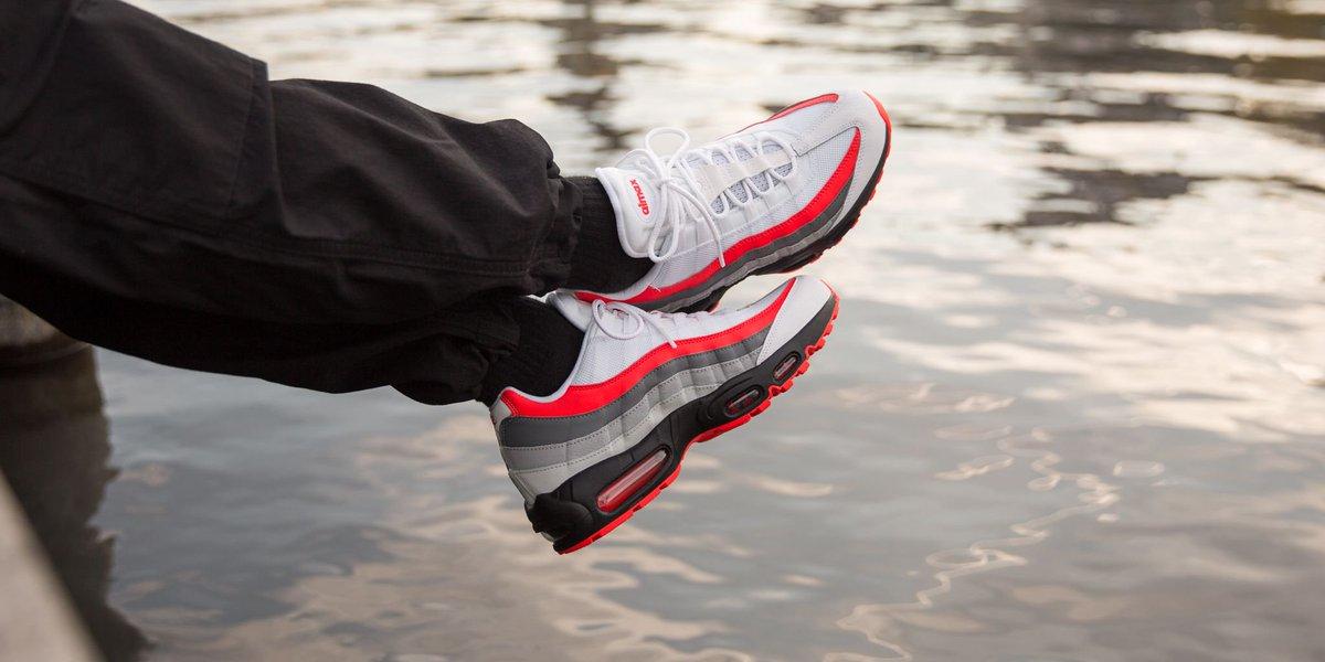 NEW IN! Nike Air Max 95 Essential - White Bright Crimson-Black-Pure Platinum  SHOP HERE  http   bit.ly 2ISqbrK pic.twitter.com QkKVaSdBVU fd33b0f98
