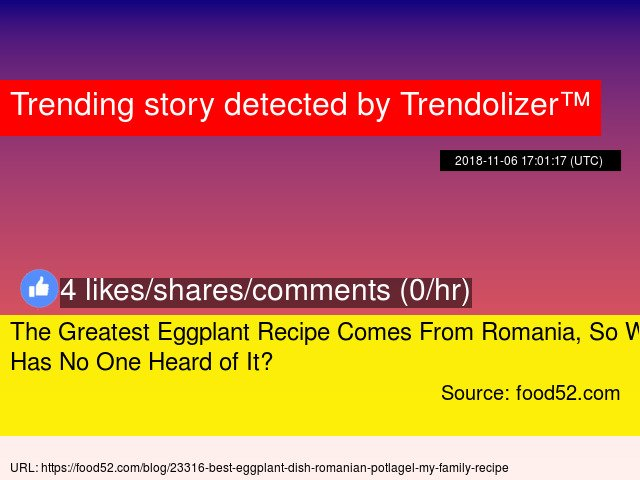 The Greatest Eggplant Recipe Comes From Romania, So Why Has No One Heard of It? https://t.co/9LRfmp9IGT https://t.co/Qjg5O6hnbL