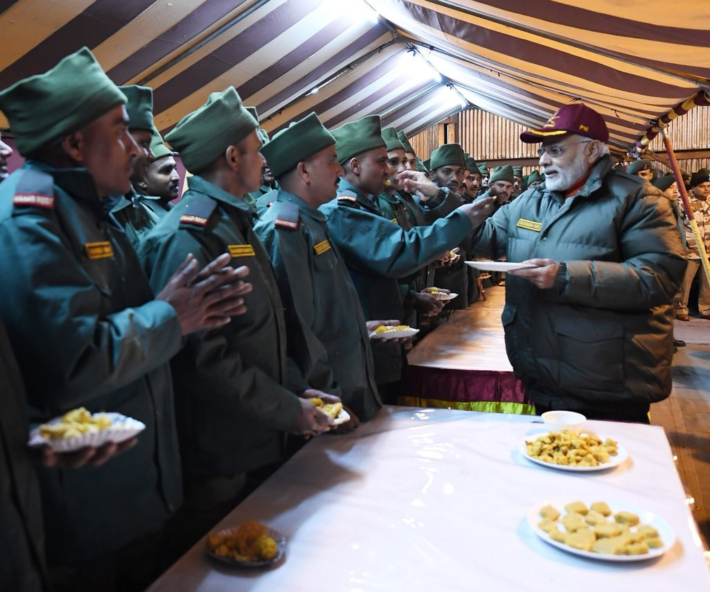 Celebrated Diwali with our valorous Army and  personnel at Harsil in Uttarakhand.   India is immensely proud of all those who protect our nation, with utmost dedication and courage.   We salute them!