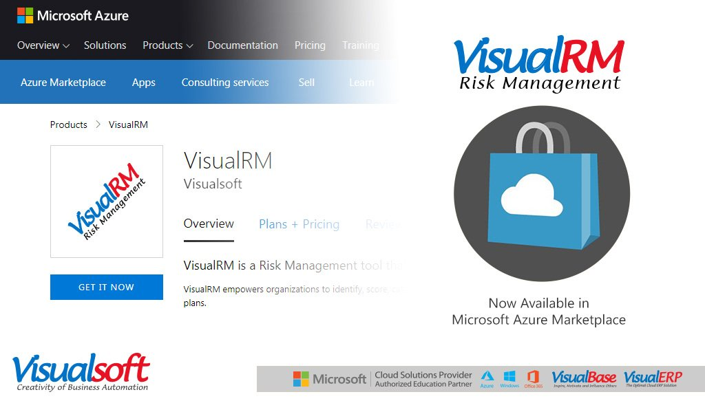 #VisualRM is now available in #Microsoft #Azure #Marketplace (#AzureMktPlace). VisualRM is a Risk Management tool that empowers organizations combating risks.  https://t.co/NHMxnaVTw0