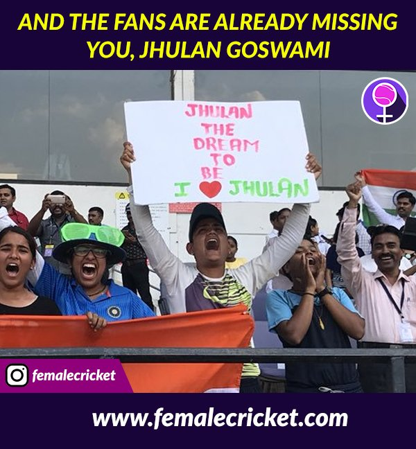To @JhulanG10 The fans are already missing you in the #WT20 🙂 Photo