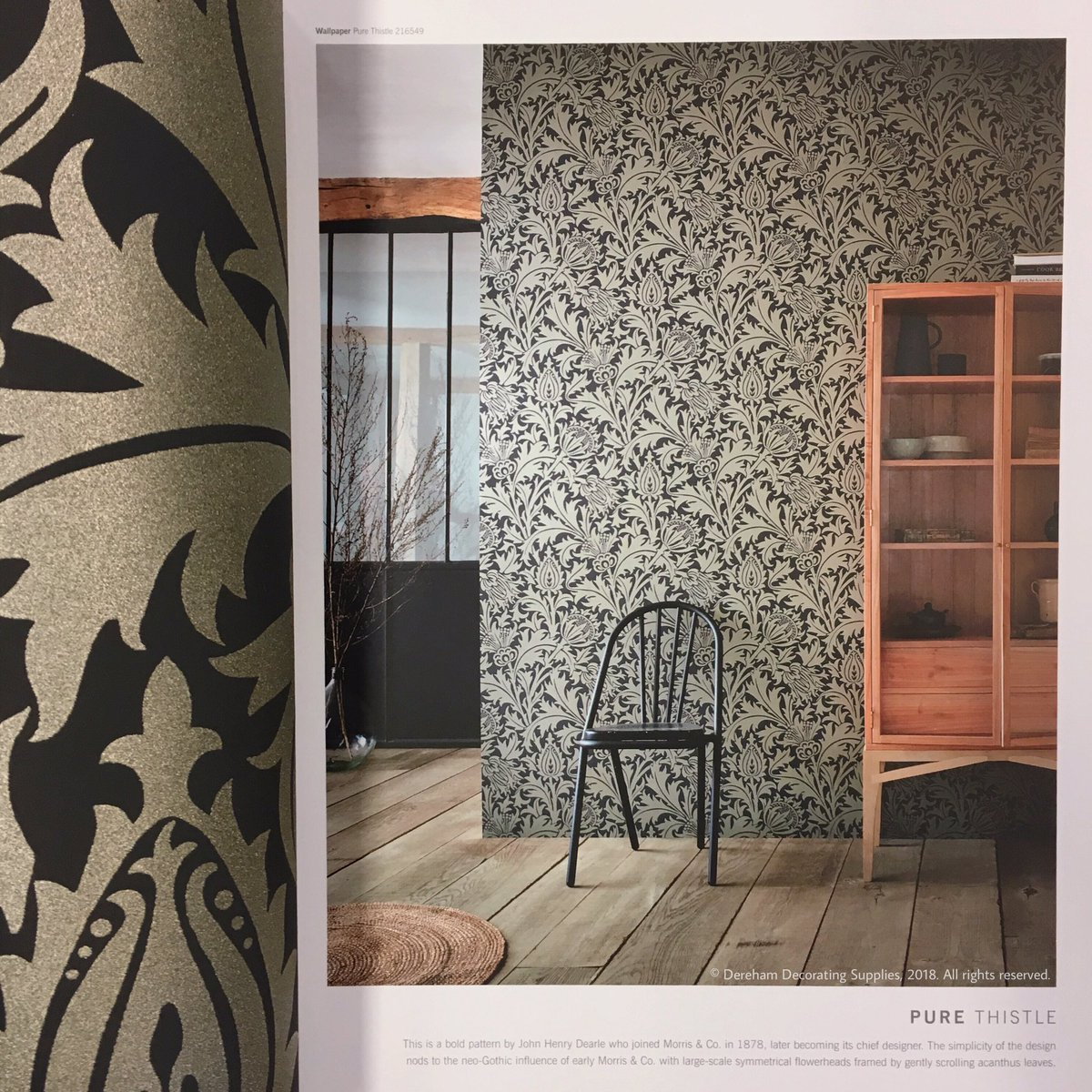 The simplicity of the wallpaper design nods to the neo-Gothic influence of early Morris & Co. with large scale flowerheads framed by scrolling ...