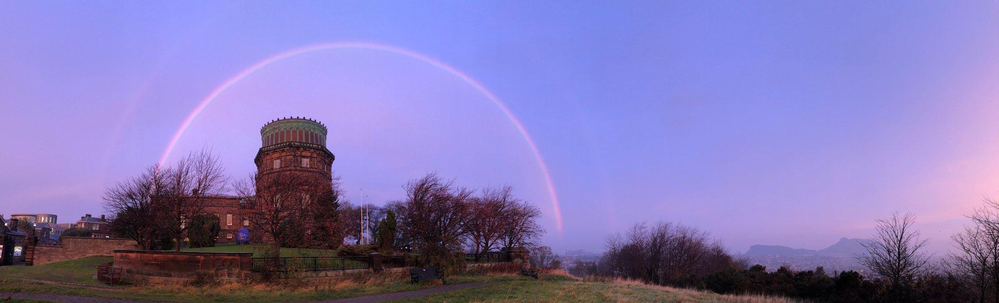 A double rainbow over the Royal Observatory Edinburgh.
