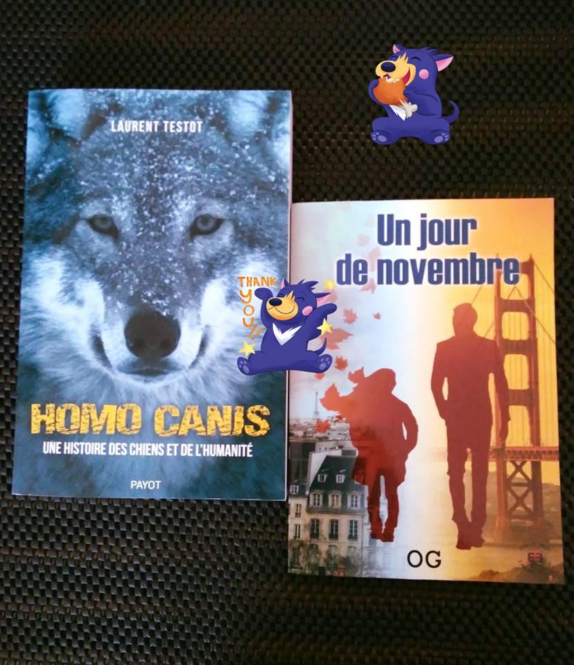 RT @LexieD31: #Receptionsdujour 🥰📬📖😍 #Homocanis de #LaurentTestot chez @Editionspayot  #Unjourdenovembre de #OG chez @EvidenceEdition  Merci pour votre confiance 😘 #livre #roman