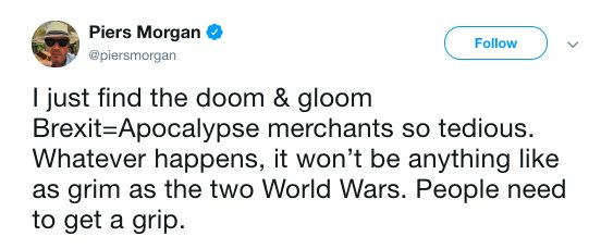 Piers Morgan confirms we have now reached Brexit Level 8.