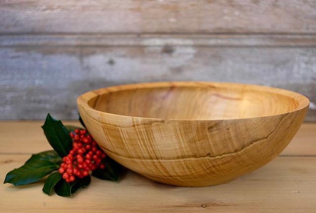 """Image for the Tweet beginning: Curly maple bowl, 12"""" (30.5"""