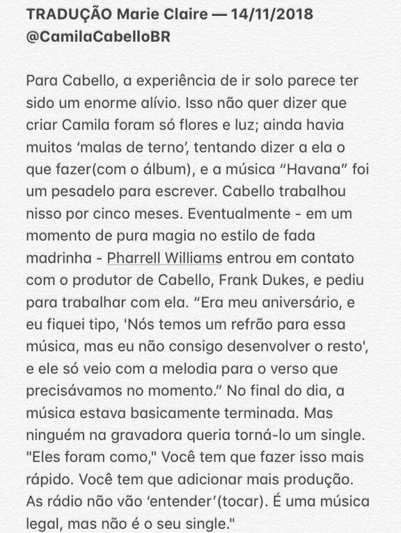 Capa da Marie Claire, Camila Cabello fala sobre encontro com Normani, turnê com Taylor Swift, próximo álbum e namoro com Matthew Russey