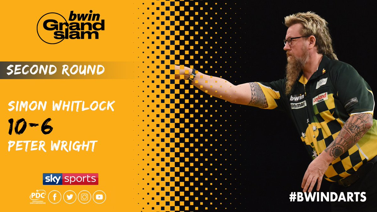 WINNER! Simon Whitlock sees off Peter Wright as he books his place in the Quarter-Finals of the 2018 @bwin Grand Slam of Darts. #bwinDarts