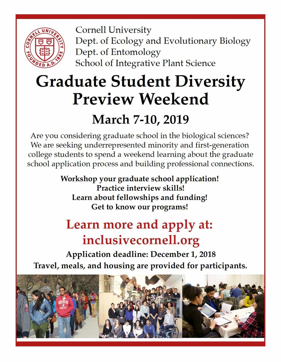 Tweeps! Cornell is hosting Graduate Diversity Preview Weekend for first gen and underrepresented minority students to learn about graduate programs in STEM at Cornell. Travel, meals & housing included. Application deadline December 1. Pls share!