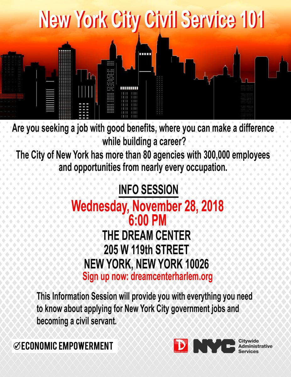 Are you seeking a #job with good #benefits, where you can make a difference while building a #career? Come to #TDCHarlem for an Info Session that will provide you with everything you need to know about applying for NYC #government jobs & becoming a #civilservant. #alwaysrelevant