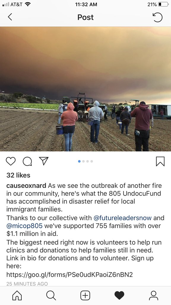 I'm currently in Northern California at the #CampFire, but I wanted to show you this incredible photo from Southern California where farm workers continue to work through these awful conditions. H/t @CAUSEOxnard