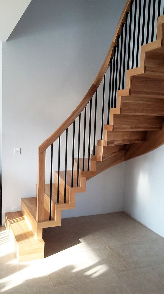 Woodenstairs Uk Ar Twitter Contemporary Bespoke Solid Oak Staircase With Wrought Iron Spindles And A Curved Oak Handrail Unique Stairdesign And A Tactile Feel Stairs Designing Installation Woodenstairs Timberstairs Https T Co Lnv3issvbu