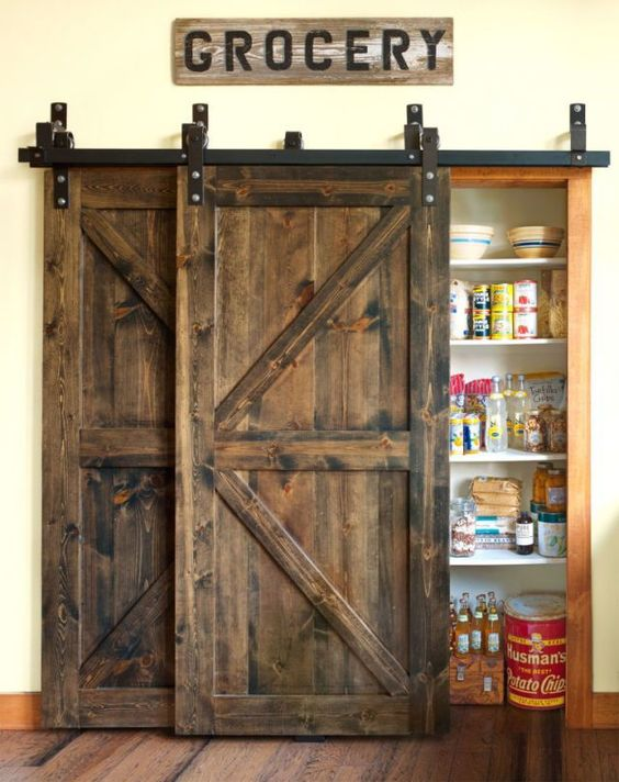 Here's a fun country style decoration for your pantry. #Pantry #pantrygoals #pantryplusmore #pantryorganization #pantrydesign #pantrymakeover #BarnDoors #barndoorhardware #BarnDoorsNow #barndoorback #barndoorconsole #barndoordesigns #barndoorboutiqueshop #barndoorideas