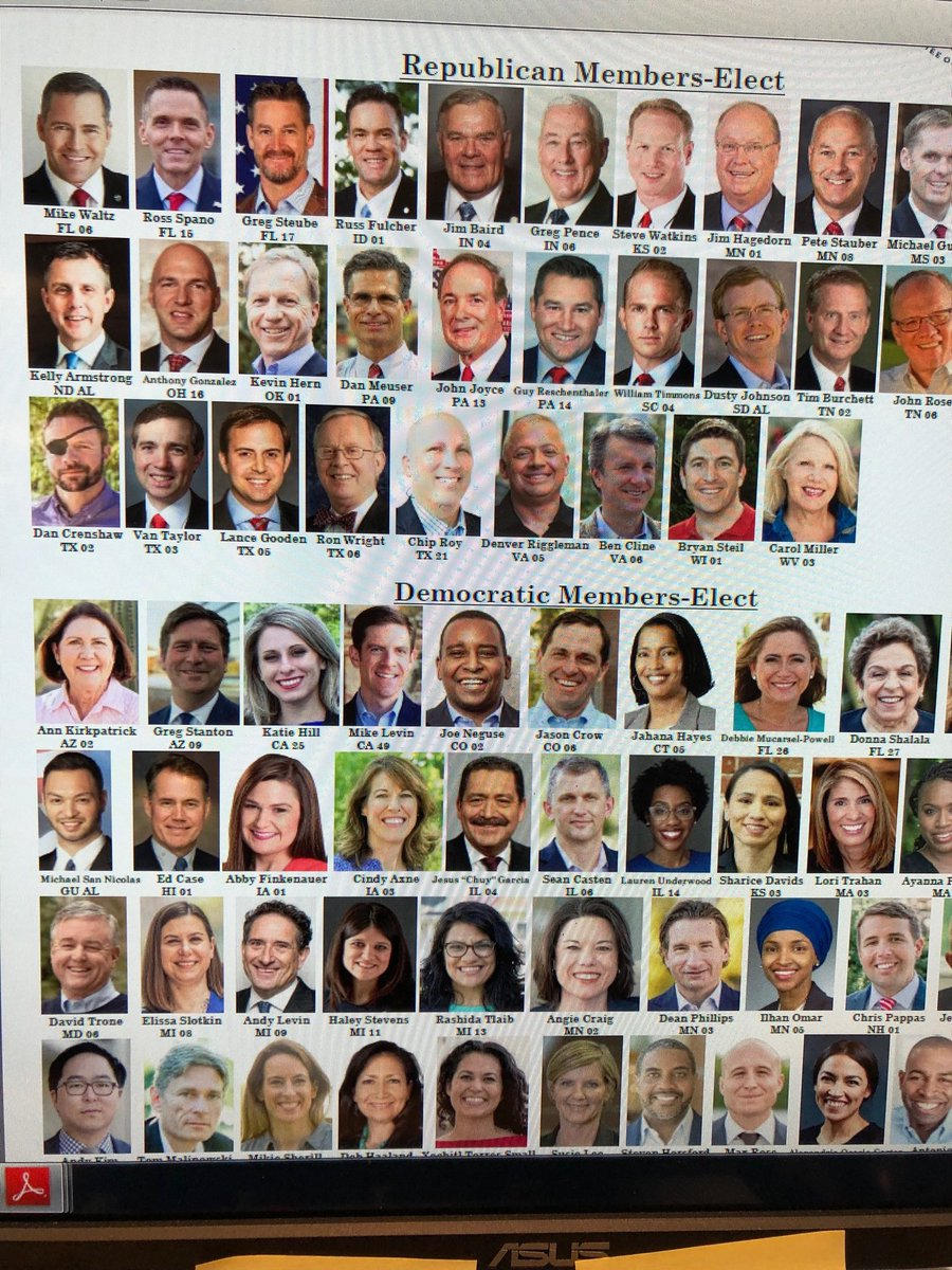 This is a phenomenal photo. It's a pic of the new Republican members of Congress; and the newly elected Democrats. Spot the difference #Midterms2018 #republicansdontdowomen<br>http://pic.twitter.com/3e60BNiut5