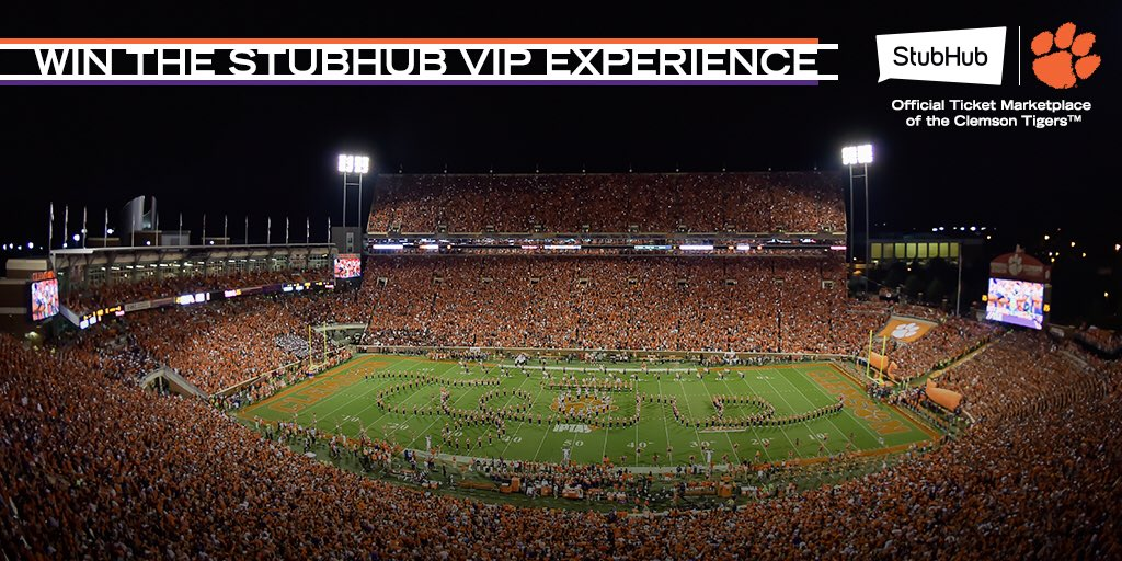 @StubHub VIP Experience    You could win 2 tickets and a VIP prize pack to the @ClemsonFB vs. South Carolina game on November 24th!  To enter for your chance to win, Retweet this tweet and let us know who your guest would be!  Winner will be announced Tuesday, Nov. 20th. <br>http://pic.twitter.com/34qja6G7hI