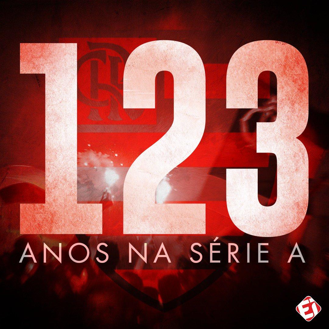UMA HISTÓRIA GIGANTE! Título mundial, da Libertadores, do Brasileiro, da Copa do Brasil, do Estadual, ídolos e uma Nação ENORME... Tudo isso em 123 anos na ELITE do futebol nacional. 👏👏👏 #Fla123 🔴⚫