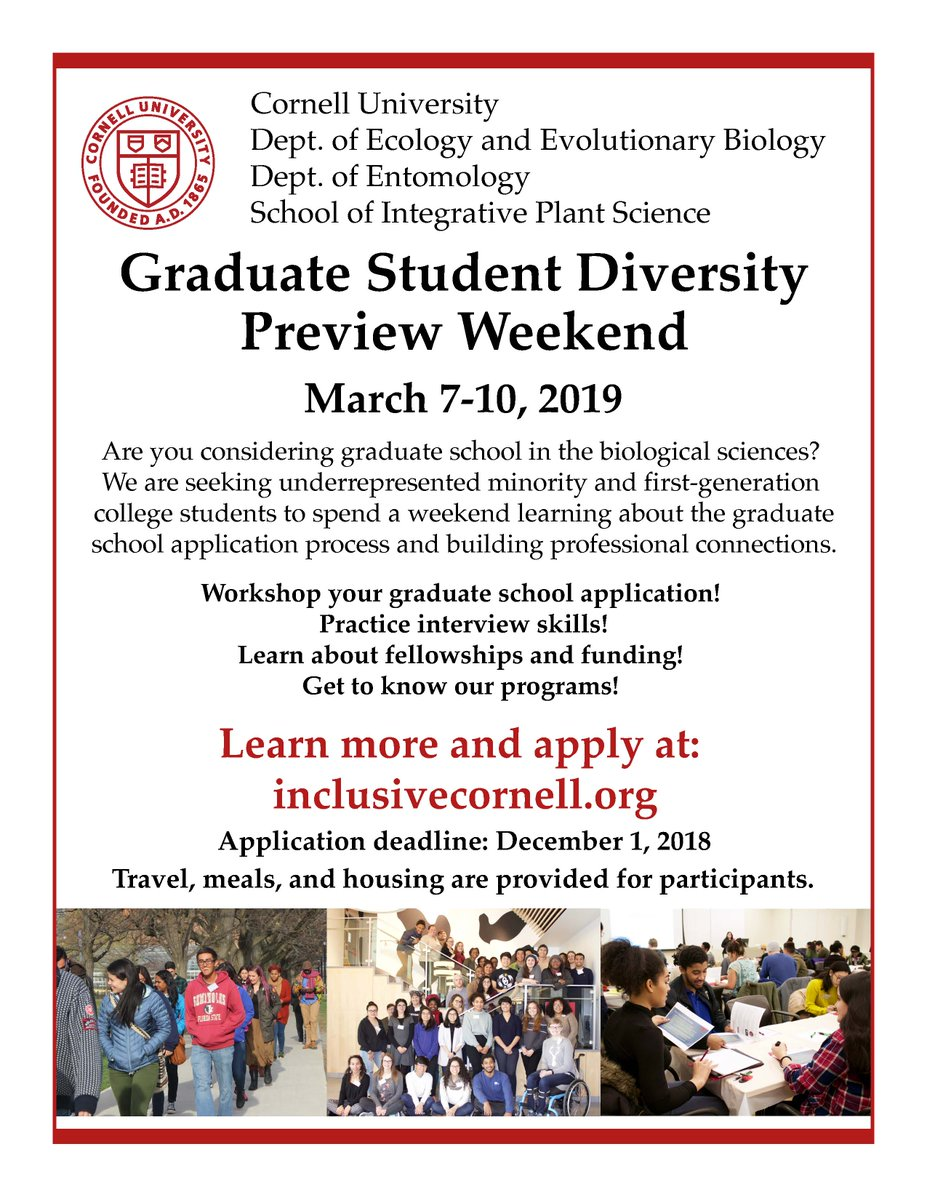 The application deadline for Cornells Diversity Preview Weekend @Cornell_DPW is just 17 days away! This is an awesome program for #firstgen and #URM students interested in pursuing grad school in ecology, evolution, entomology, or plant sciences. Apply at inclusivecornell.org