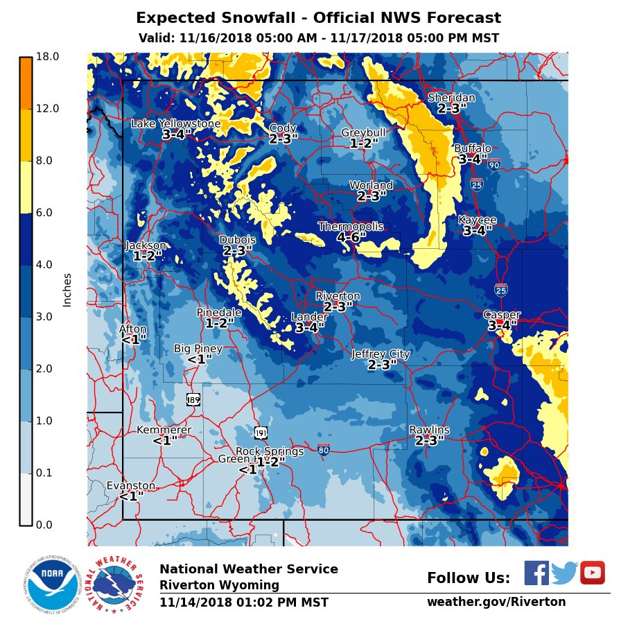 A cold front will bring a new round of snow to much of the area Friday & Saturday. #wywx https://t.co/U5yszTyGot