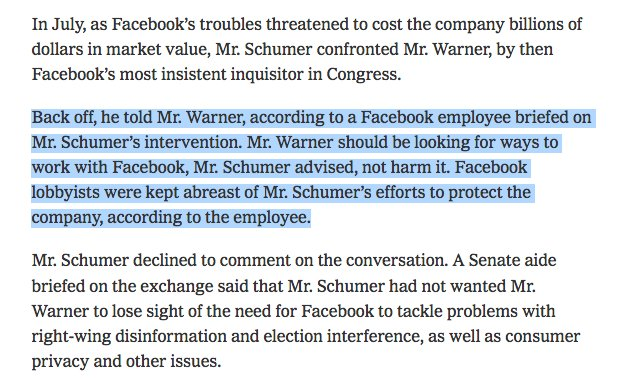 Chuck Scumer's daughter works at Facebook, and Schumer worked with Facebook lobbyists to try and get @MarkWarner to back off on criticism of the company. 'Mr. Warner should be looking for ways to work with Facebook, Mr. Schumer advised, not harm it.'
