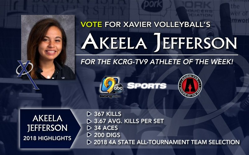Reminder! @XHSVolleyball's Akeela Jefferson, recent South Dakota State commit, is a finalist for KCRG-TV9 Athlete of the Week! Vote for Akeela early and often at https://www.kcrg.com/polls/?mr=1&pollID=500360611&pid=500360611&oid=3&cid=6500…