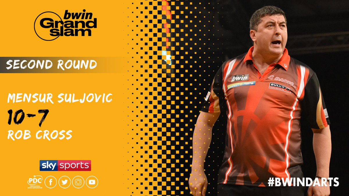 WINNER! Mensur Suljovic beats Rob Cross to reach the Quarter-Finals of the 2018 @bwin Grand Slam of Darts #bwinDarts