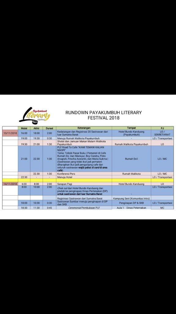 Susunan acara Payokumbuah Literary Festival 2018.