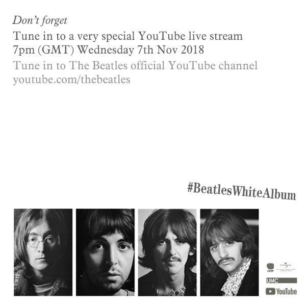 Don't forget! 7pm (GMT) today! youtube.com/thebeatles #beatleswhitealbum