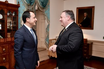 Secretary of State Michael R. Pompeo meets with Cypriot Foreign Minister Nikos Christodoulides, at the Department of State, November 6, 2018.