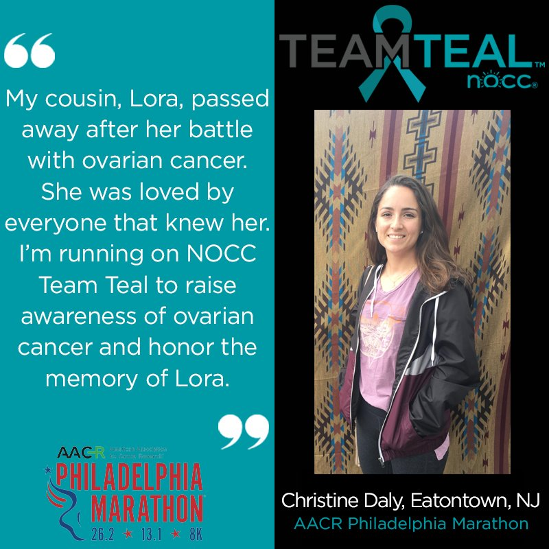 National Ovarian Cancer Coalition On Twitter Christine Daly Runs On Noccteamteal In Memory Of Her Cousin Who Passed Away After Her Battle With Ovariancancer She Runs To Spread Awareness Of The Signs